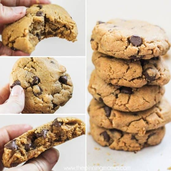 Peanut Butter Cookies with Chocolate Chips thick and chewy