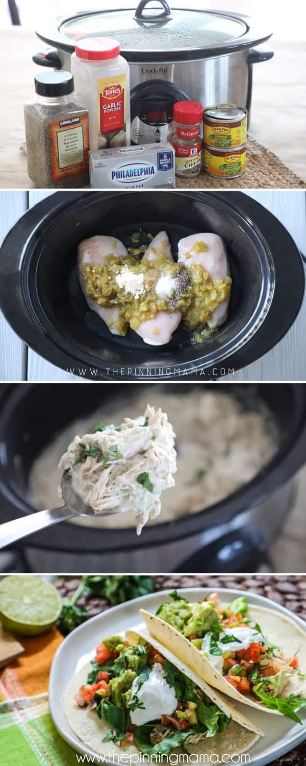 How to make crockpot chicken tacos, they are super easy and perfect for weeknight dinners.