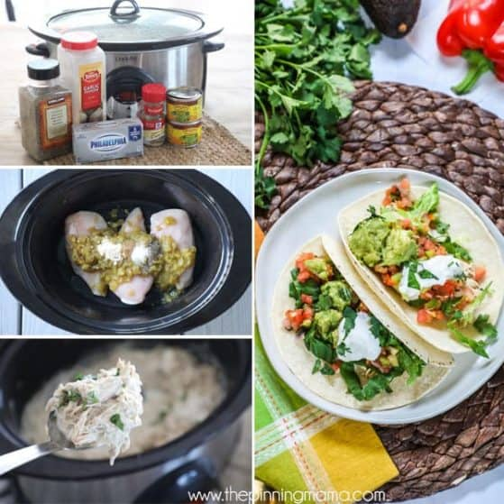 Try these delicious crockpot chicken tacos for taco Tuesday.
