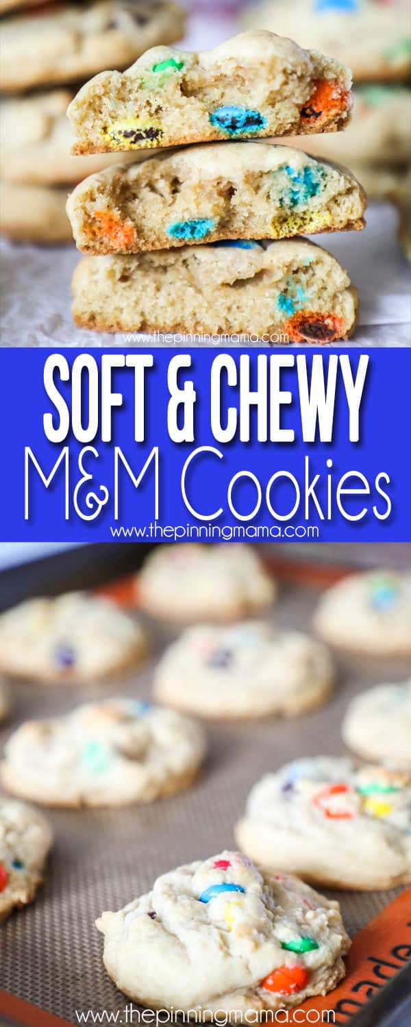 The BEST Soft Chewy M&M Cookie recipe!  Love these classic cookies!
