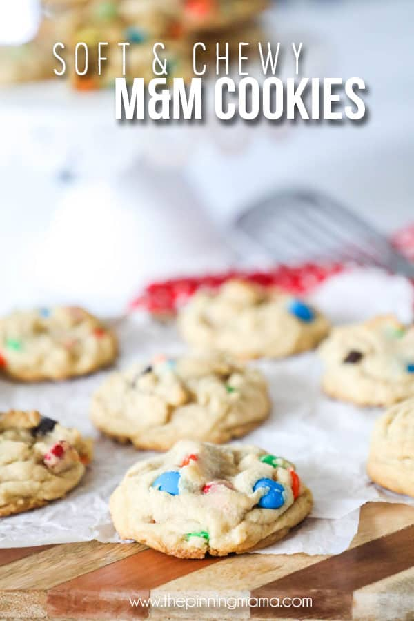 Delicious Soft M&M Cookies on a plate