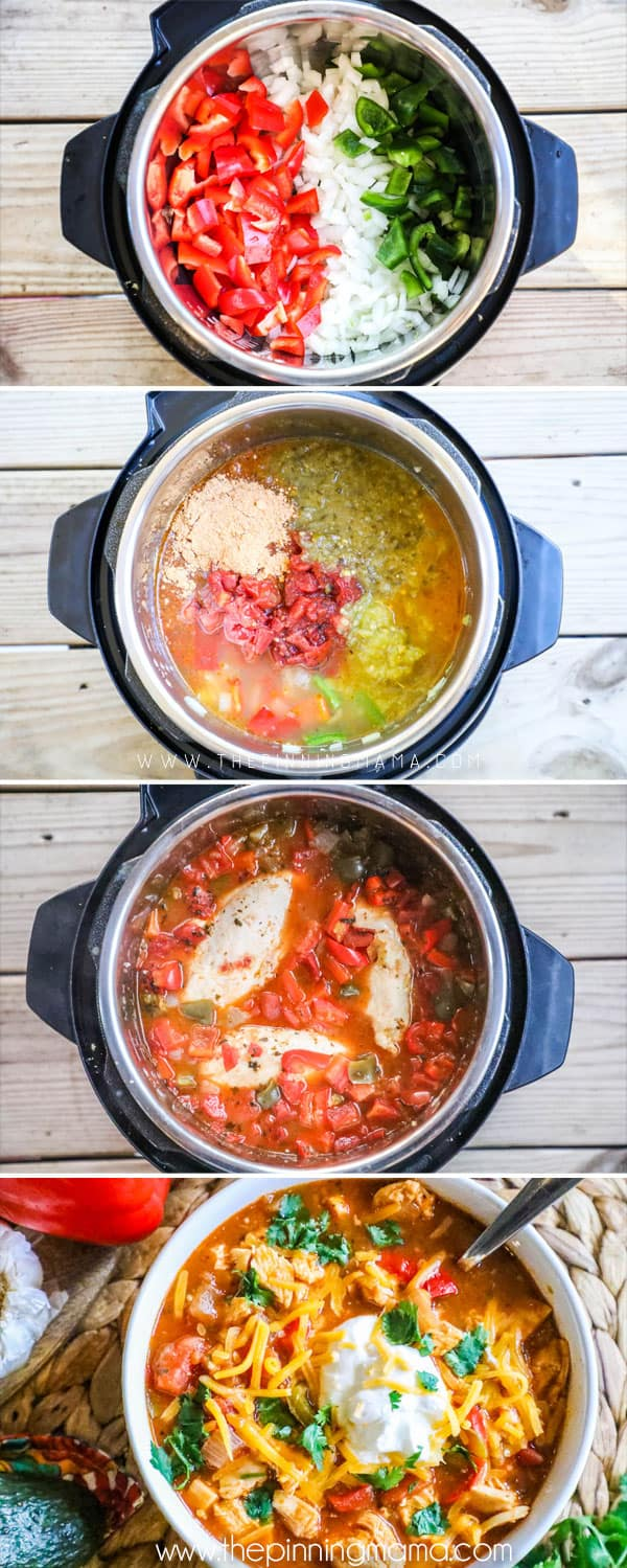 How to Make Chicken Fajita Soup- Step 1: Sautee bell pepper and onion. Step 2: Add remaining ingredients and stir well. Step 3: Cook on high pressure. Step 4: Chop chicken and stir back into the soup.