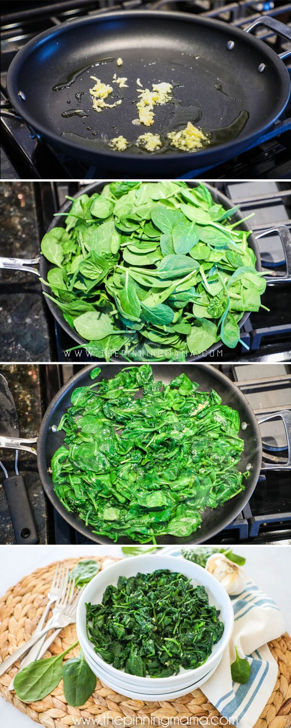 Step by step instructions on making sauteed garlic spinach.