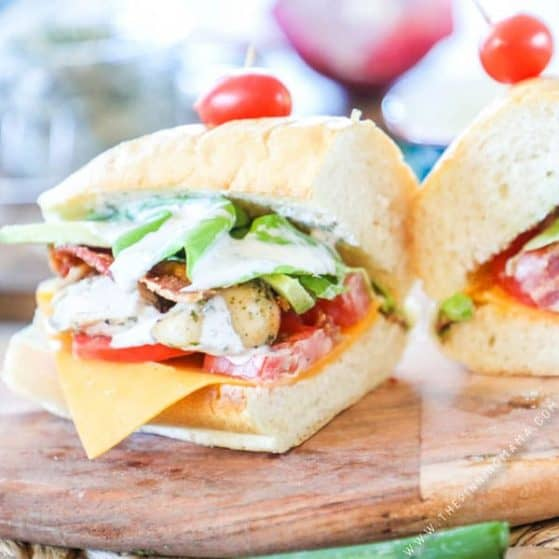 Recipe for Chicken Bacon Ranch Sub Sandwiches.