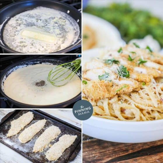 Quick and Delicious Fettuccini Chicken Alfredo.