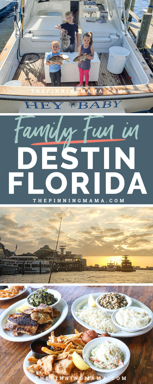 Activities for family fun in Destin Florida including deep sea fishing, Destin Harborwalk and eating fresh seafood at Harbor docks