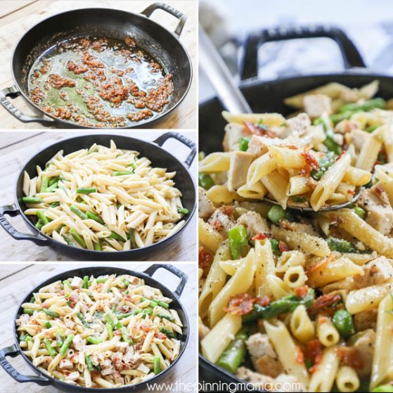 Steps for making garlic butter pasta with chicken bacon and asparagus