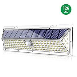 VOSONX Solar Lights Outdoor - 126 LEDs Solar Powered Security Lights, Wireless Light Sensor & Motion Sensor Light, IP65 Waterproof Outdoor Wall Lights