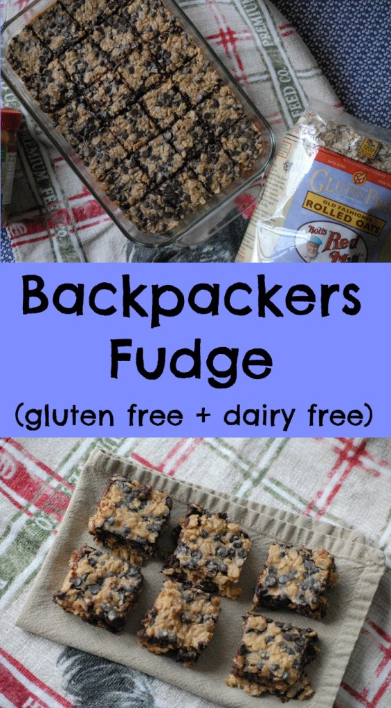 Backpackers Fudge- This dairy-free, gooey, delicious treat is a fantastic dessert or snack food! It is easy to make and gluten-free too!