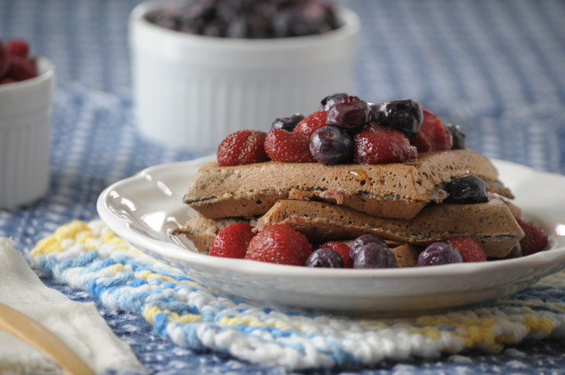 Blender Blueberry Waffles- These quick and easy waffles are grain free and can be whipped up in a blender!