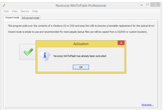 Novicorp WinToFlash Professional license key