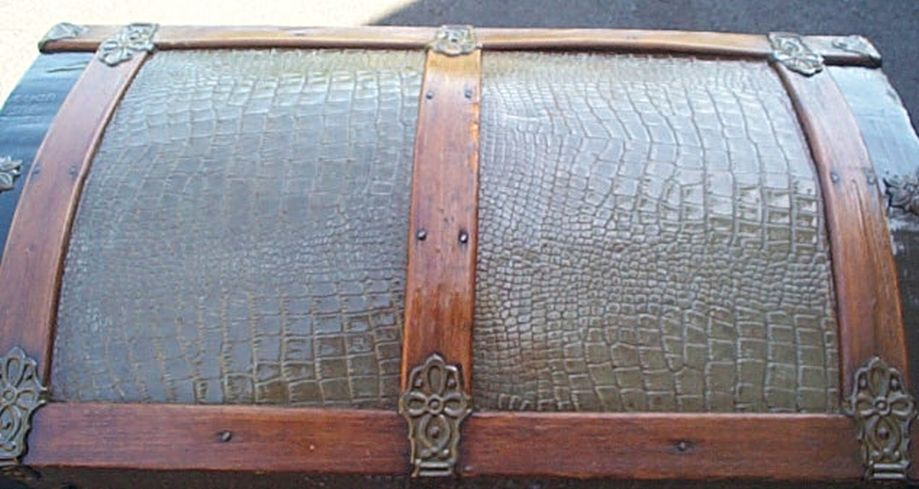 373 Restored Steamer Trunks For Sale Pressed Tin  Dome Top Roll Top