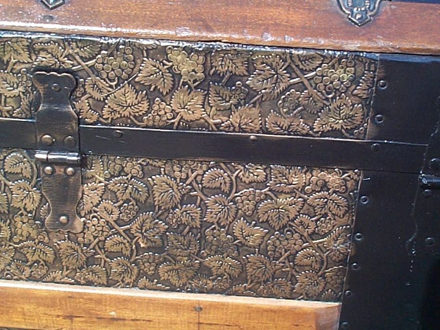 448 Pressed tin Restored Dome Top Antique Trunk For Sale