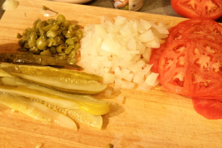 Chicago Style Hot Dog Terrine Mise