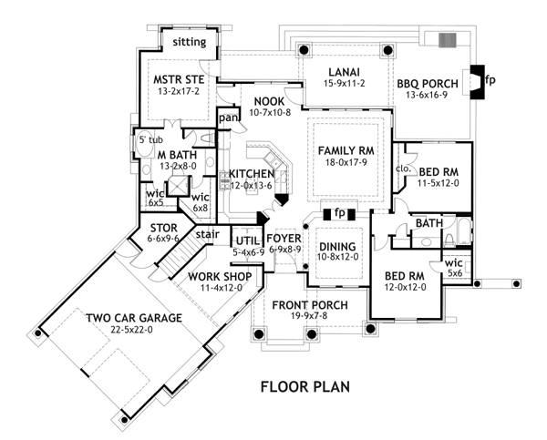 3 Bedrm, 1848 Sq Ft Ranch House Plan plus Study/Guest Room