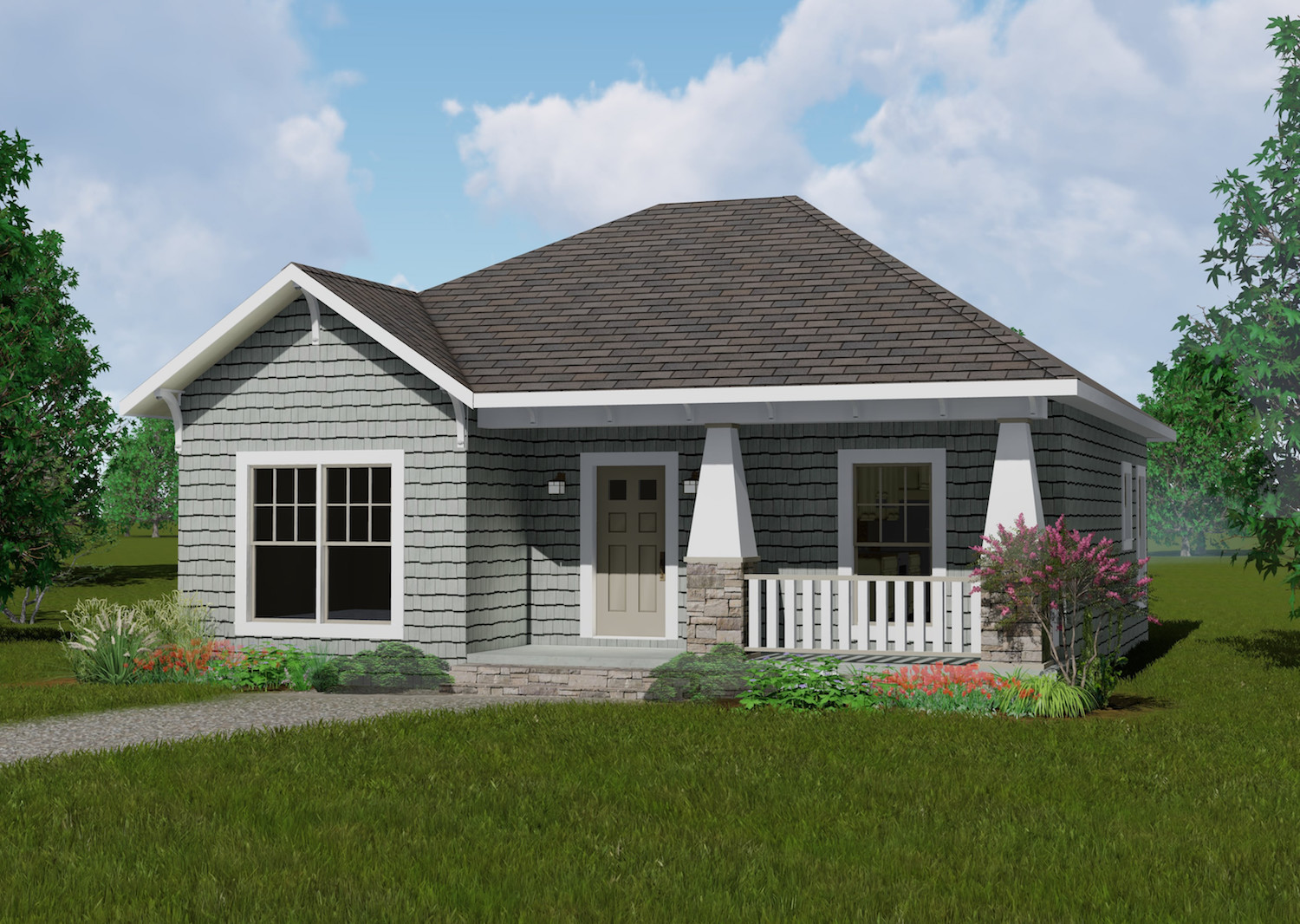 2 Bedrm 1073 Sq Ft Country House Plan 1231083