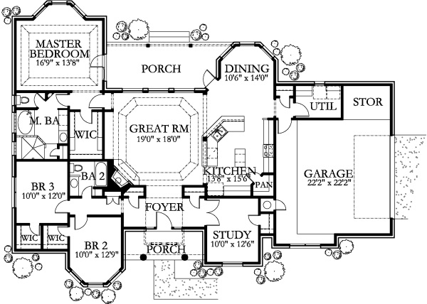House Plan #136-1029 : 3 Bedroom, 2014 Sq Ft Texas Style
