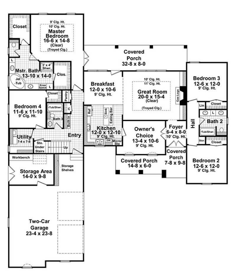 European Country House Plan #141-1182: 4 Bedrm, 2400 Sq Ft