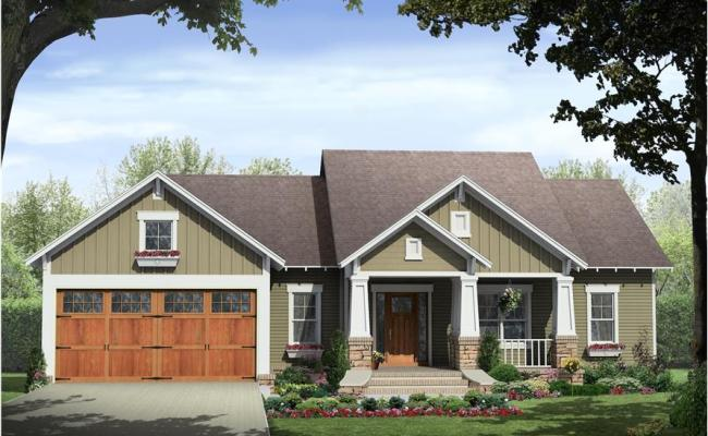 3 Bedrm 1509 Sq Ft Country Craftsman Ranch Plan With Porch