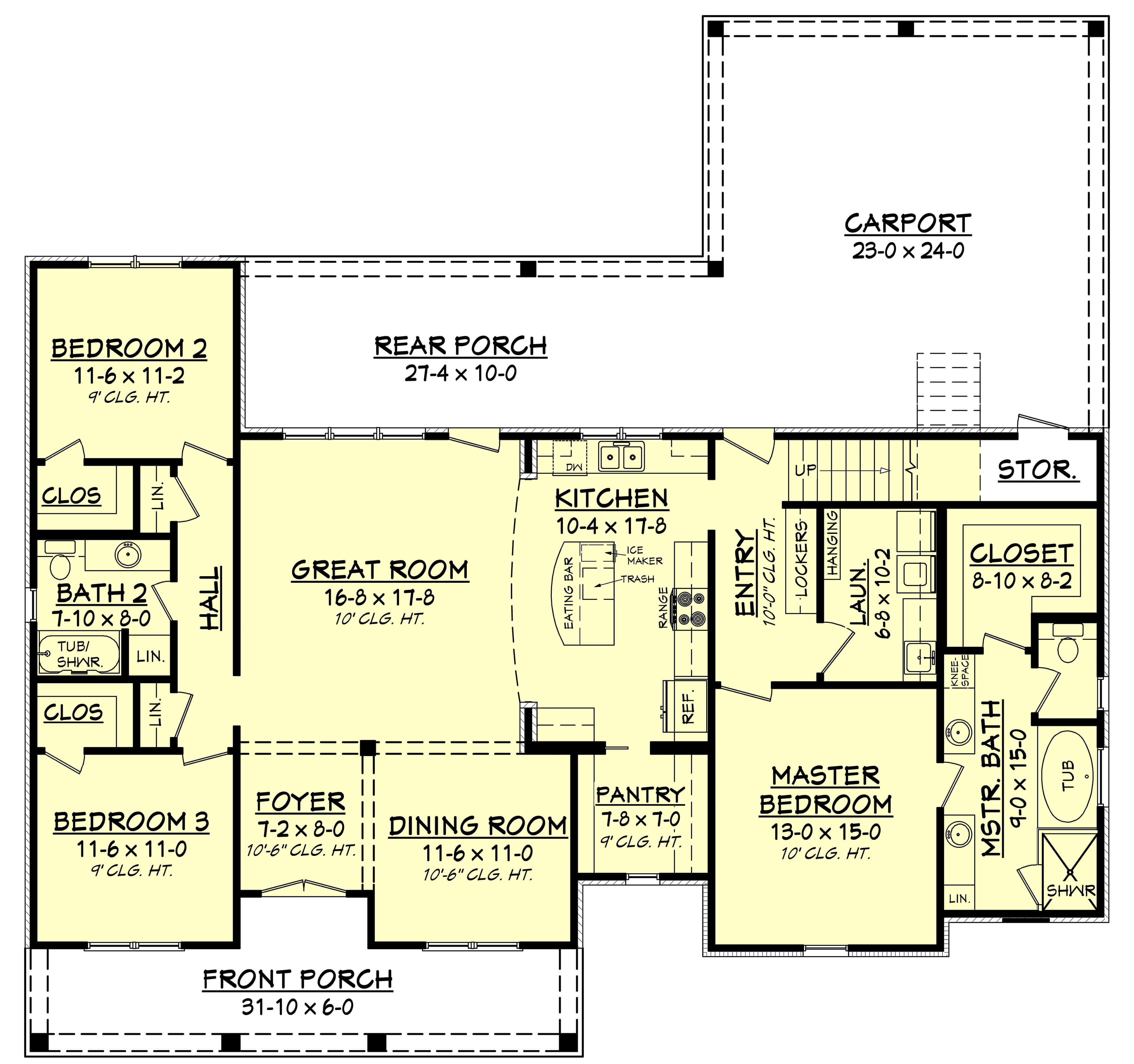 3 Bedrm, 1900 Sq Ft Acadian House Plan #142