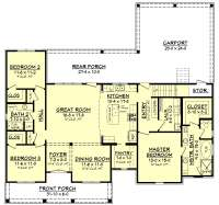 3 Bedrm, 1900 Sq Ft Acadian House Plan #142-1163