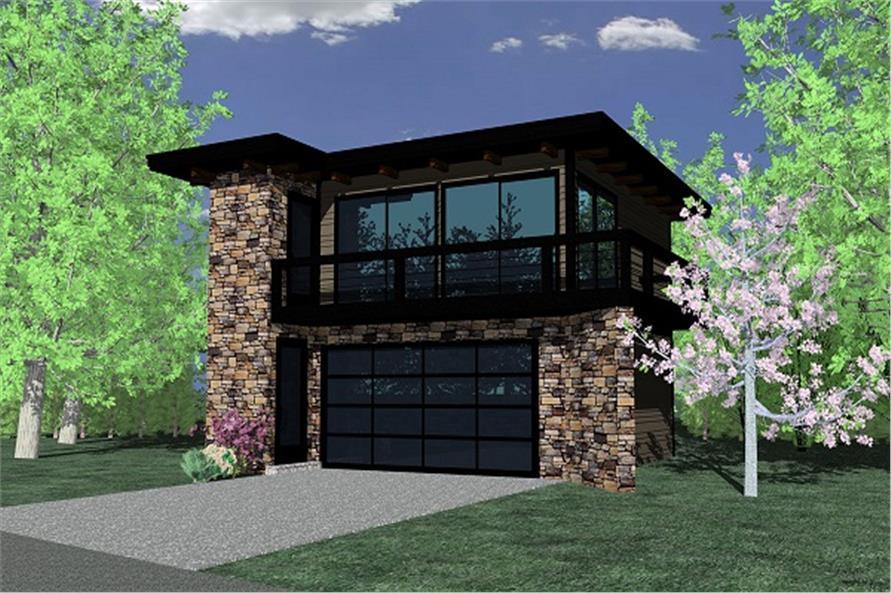 ContemporaryGarage wApartmentsModern House Plans  Home Design MM615