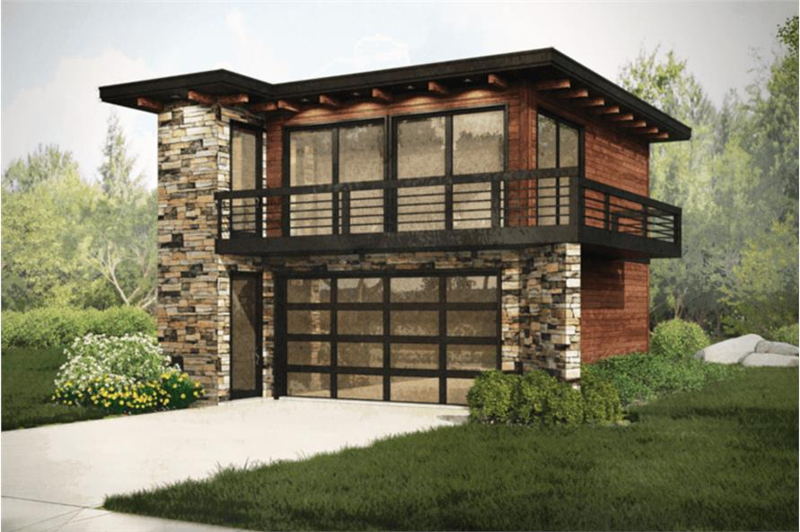 Modern Garage Apartment Plan  2Car 1 Bedroom 615 Sq Ft