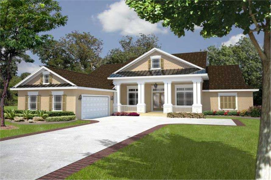Classic Columns And Railing Line The Front Porch House Plans 26204