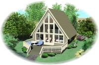 A Frame House Plan - 0 Bedrms, 1 Baths - 734 Sq Ft - #170-1100