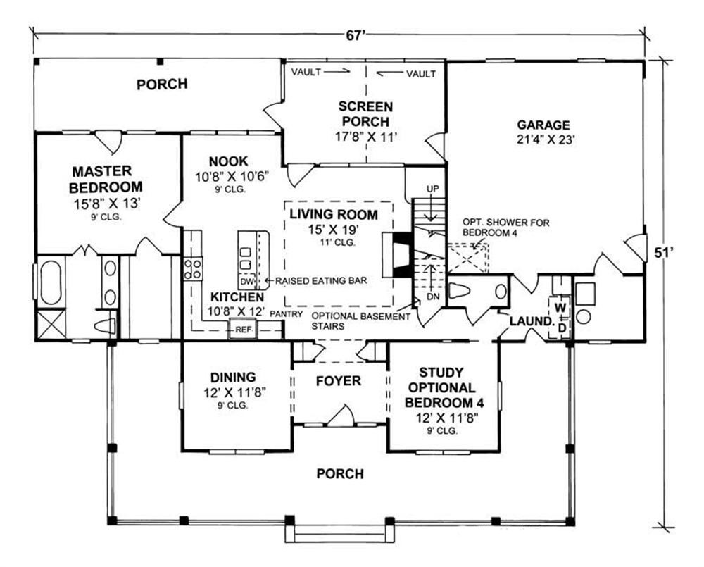 4 Bedrm 1980 Sq Ft Country House Plan 1781080