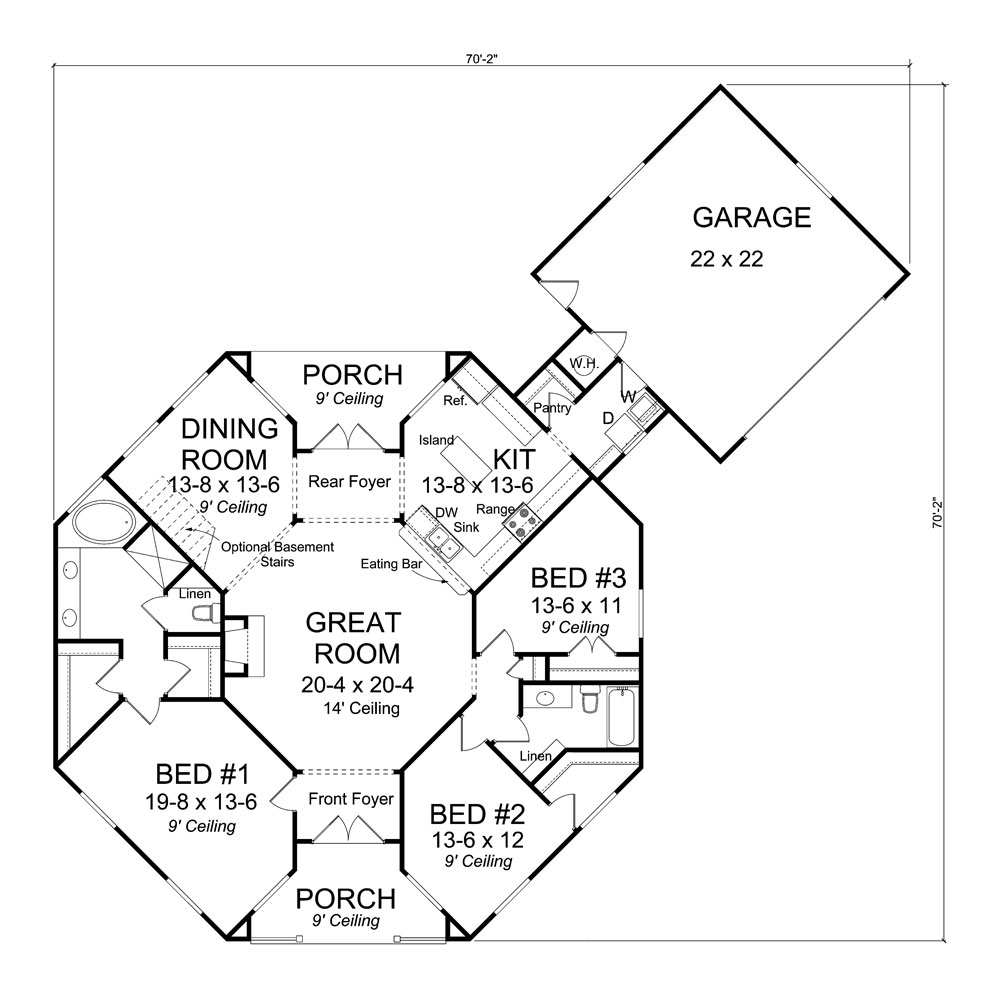 Ranch House Plan #178-1311: 3 Bed, 1793 Sq Ft Home