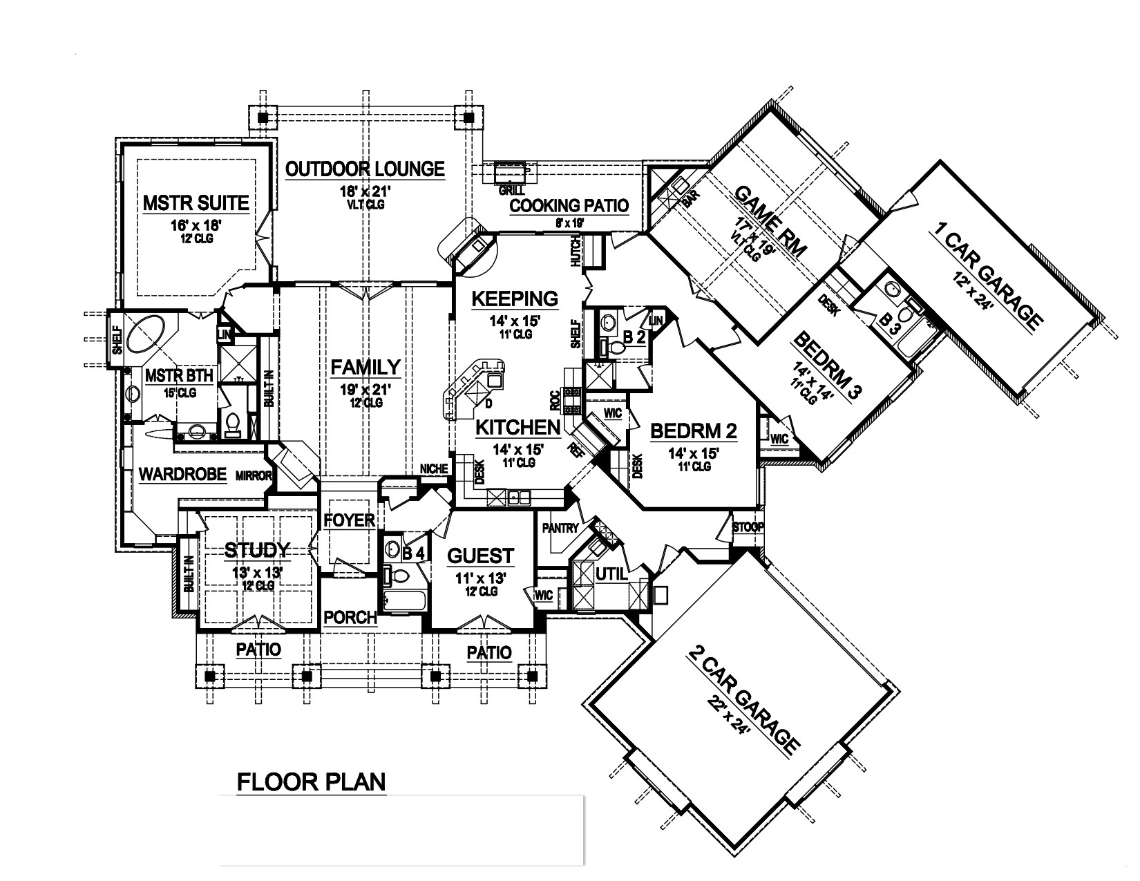 4 Bedrm Sq Ft Ranch House Plan 195