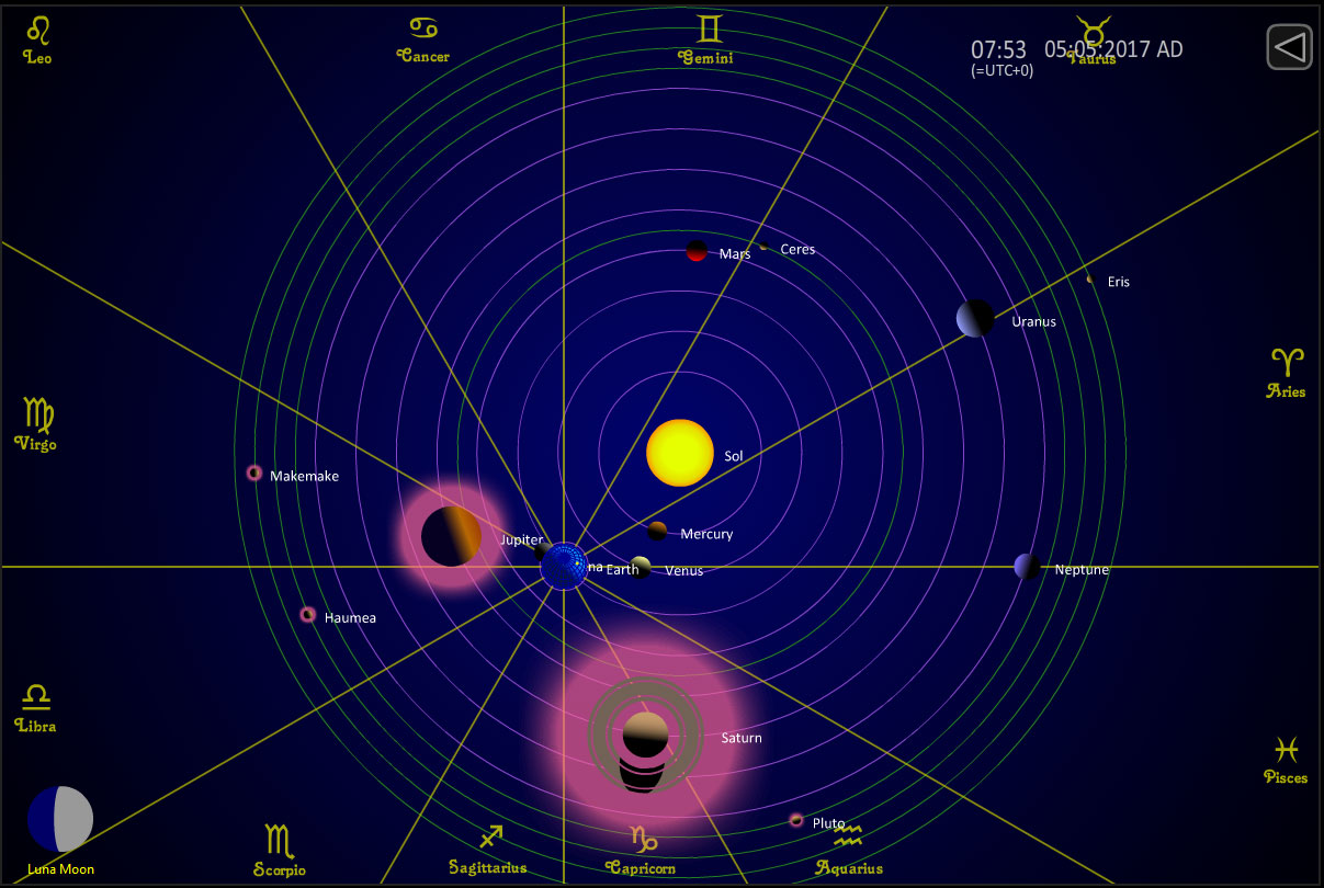 hight resolution of solar system map of planetary positions