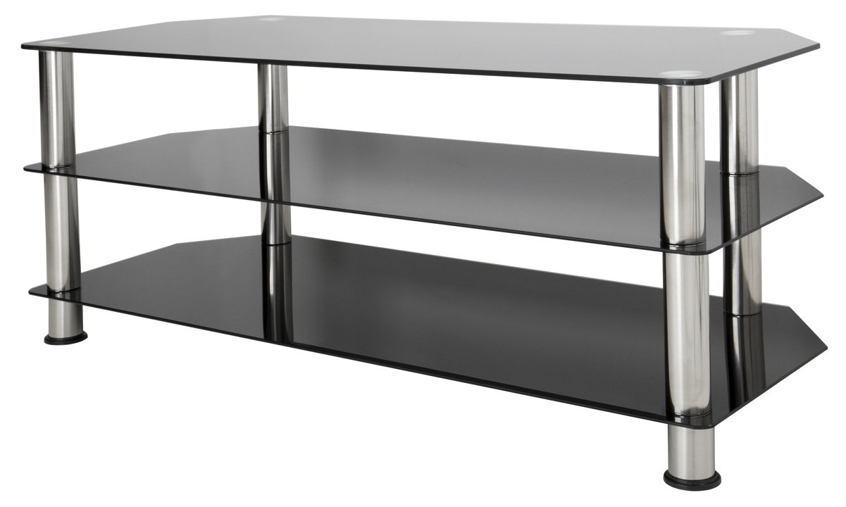 Avf Universal Black Glass And Chrome Legs Tv Stand For Up To 55 Tvs