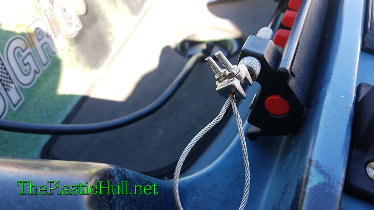 Upgrade kayak steering cables with wire rope clamp - The Plastic Hull