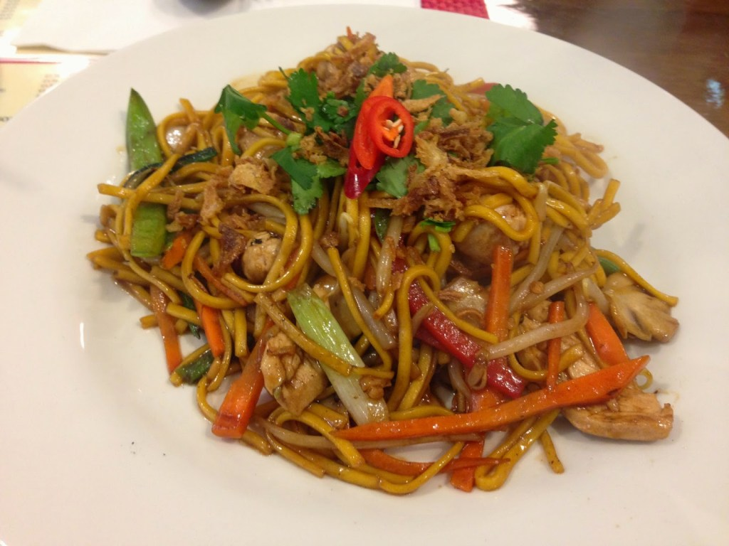 egg noodles chicken Chilli Basil