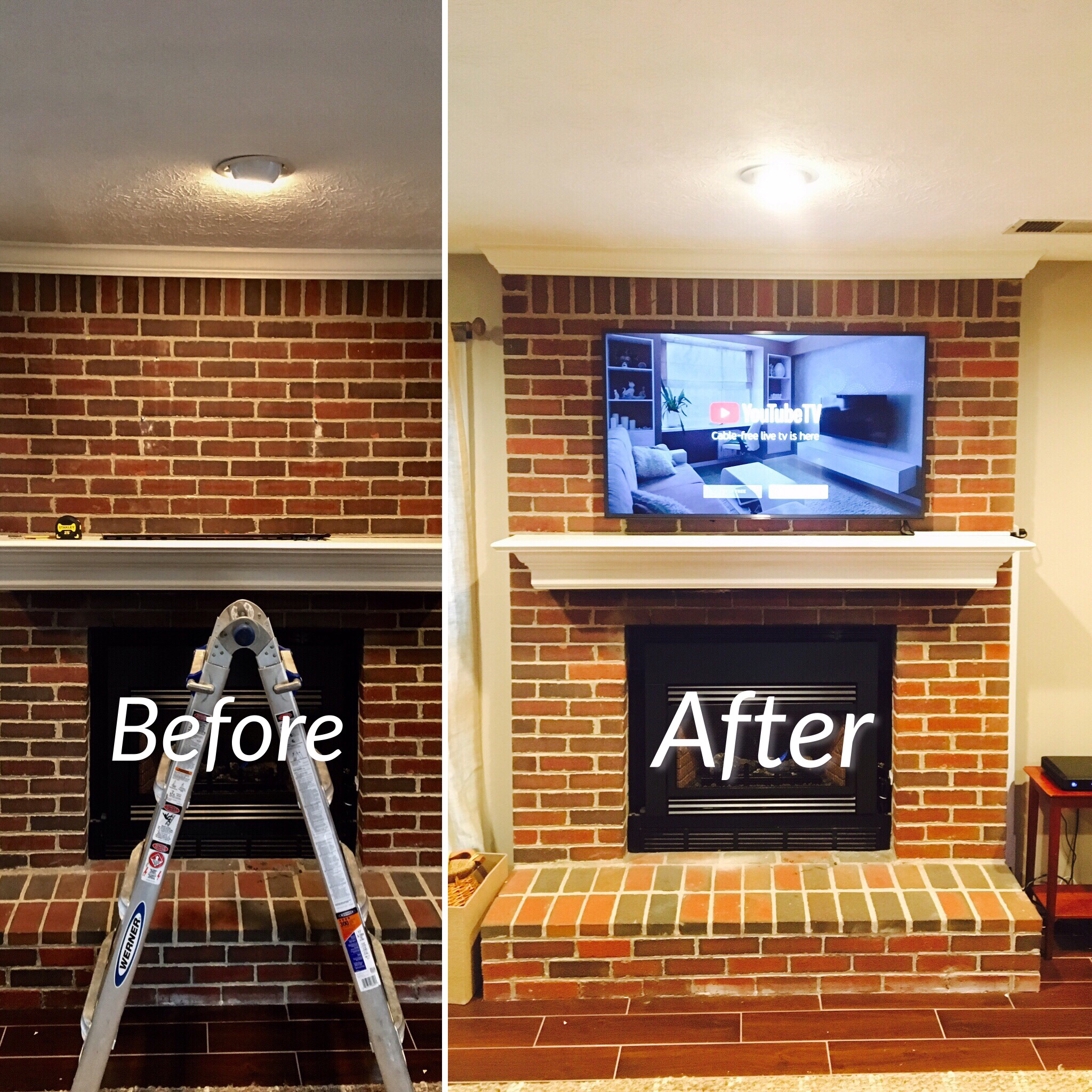 Mounting Tv On Brick Fireplace Annqe, Can You Mount Tv To Brick Fireplace