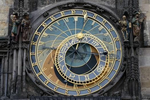 The picture shows the dial of the Prague astronomical clock.
