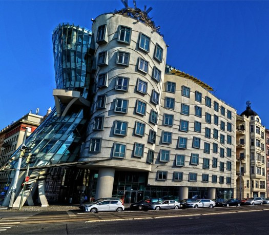 This is one of the few modern buildings in the heart of Prague. It is supposed to look like Fred Astaire and Ginger Rogers dancing.