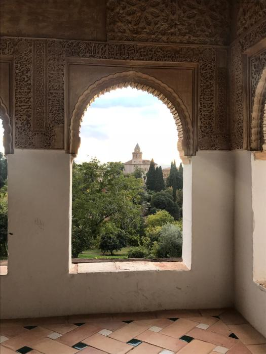 Looking out through an Islamic window in the Alhambra