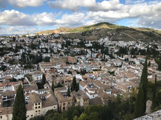 You can see the White walls and redish brown roofs of Granada