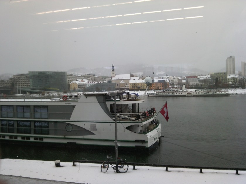 This shows the Danube in the snow