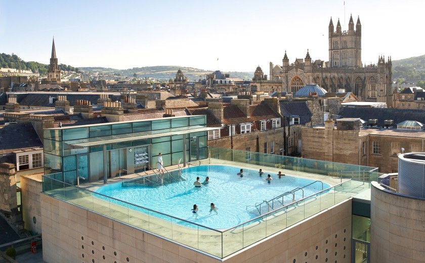 Visitors swimming in the rooftop Bath.