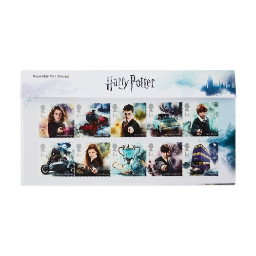 A collection of stamps showing Hermione, Harry and Ron with the Ford Anglia and the Night bus.