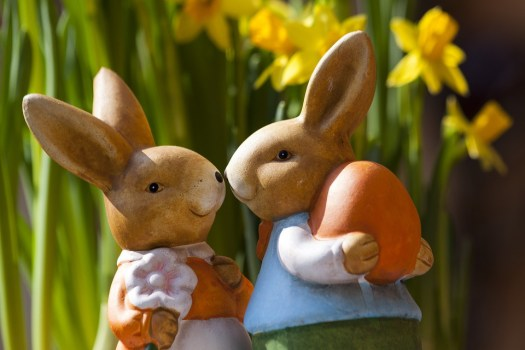 two rabbits with an easter egg.