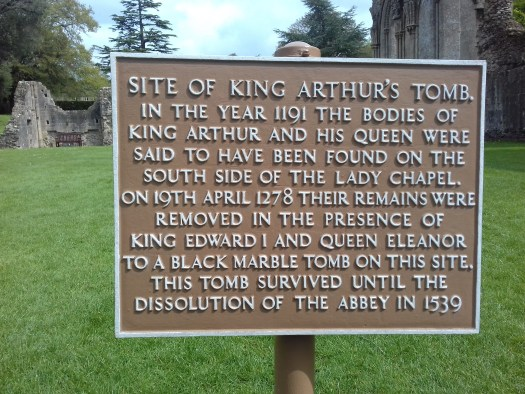 A sign showing where the tombs of Arthur and Guivivere were found