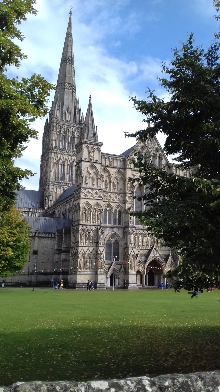 The beautiful gothic front of Salisbury cathedral