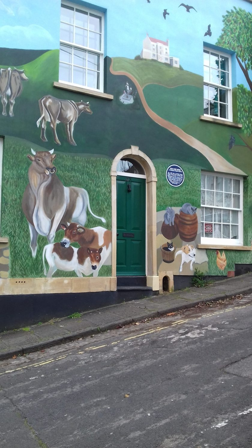 The house is decorated with pictures of cows and other farmyard creatures #Bristol street art