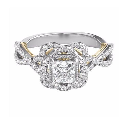 Truly Zac Posen 78 CT TW Diamond Floral Halo Engagement