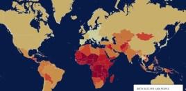 Regiunile cu cea mai mare natalitate sunt marcate cu roșu